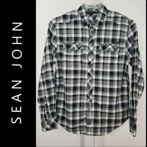 Sean John Men Tailored Fit Plaid & check Shirt
